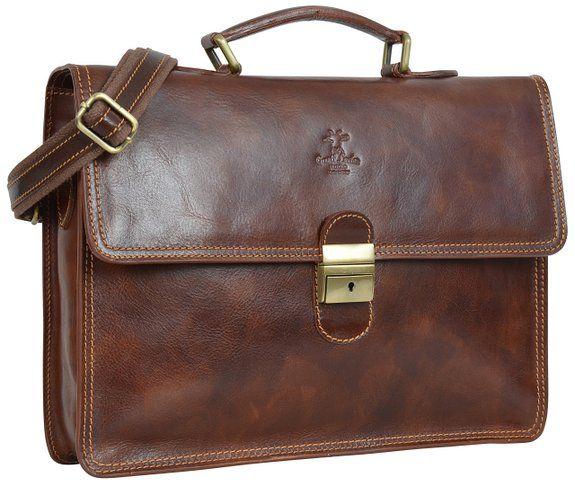 """Gusti Pelle studio ''Anthony'' borsa ventiquattrore da ufficio elegante documenti portatile 15,6"""" marrone rosso 2B31-93-3"""
