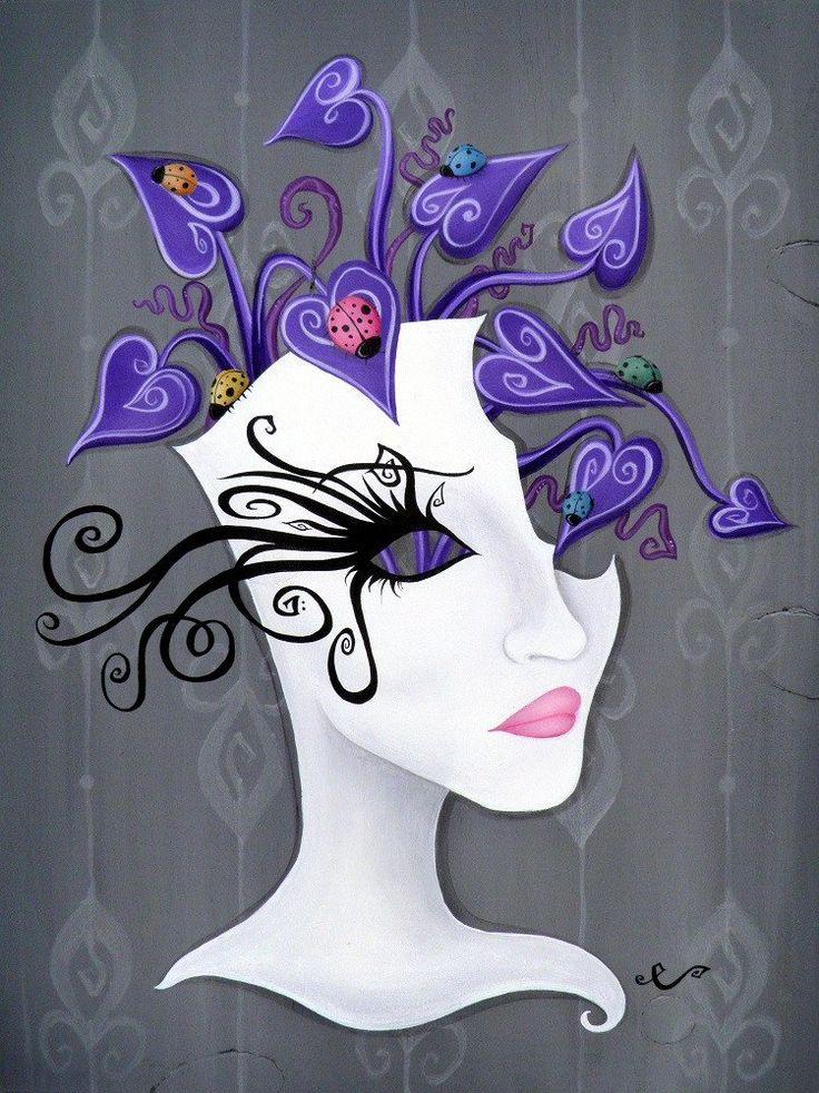 Coccinella by Elaina Soto Lowbrow Botonical Woman Canvas Art Print – moodswingsonthenet