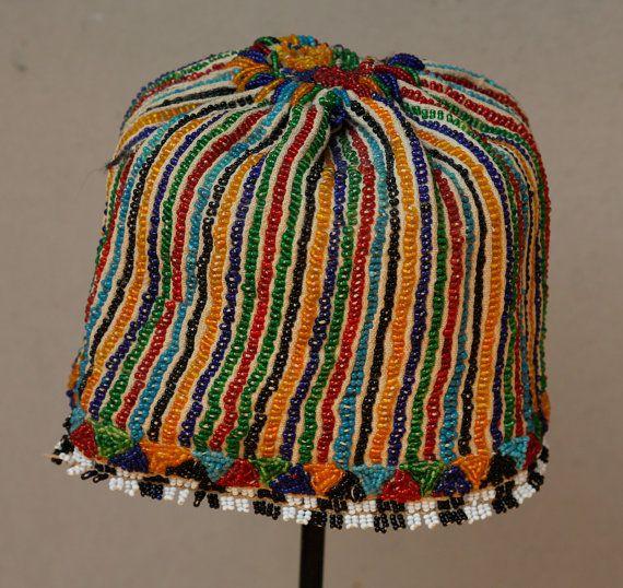 Old Handmade Anatolian Hat Turkish Tribal Hat Head Wear Head Dress Ethnic Beaded Hat  - FAST SHIPMENT with ups - hat-021