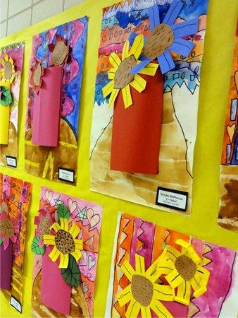 Great idea:  1) paint background highlighting color of flowers child will make later. 2) draw or trace & cut flowers 3) choose vase material and mount. Artsonia Art Museum :: Artwork by MSE1