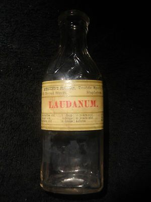 Early Antique Laudanum Bottle w/ Pharmacy Label & Dosage ...