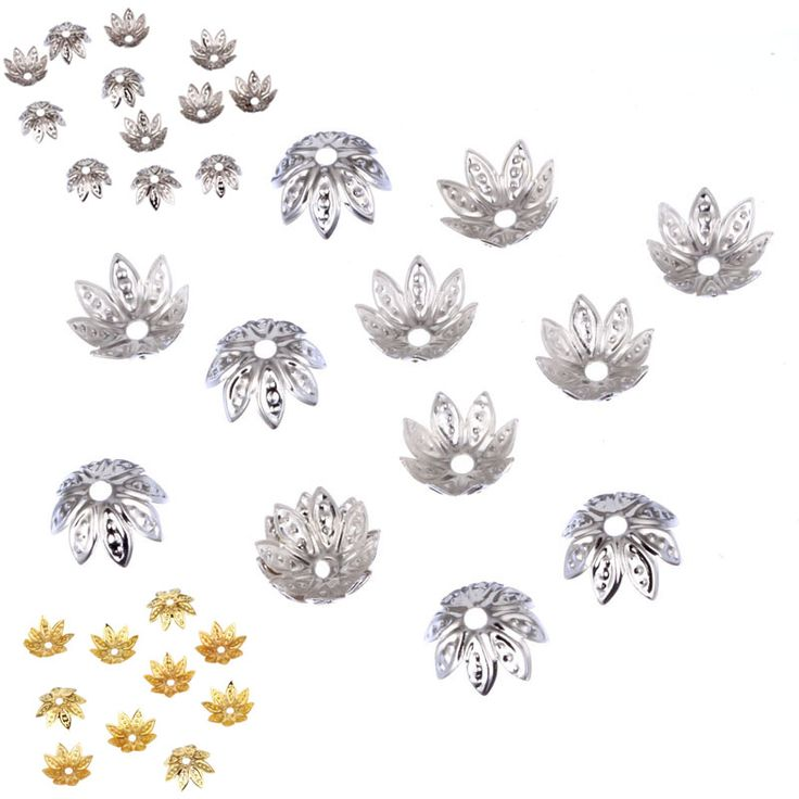 Hot 11*11mm 100pcs/lot High Quality DIY Gold/Silver Plated Flower Metal Charms Bead Caps for Jewelry Making