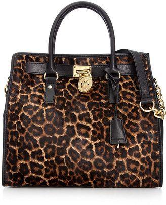 ShopStyle: MICHAEL Michael Kors Handbag, Hamilton Leopard Haircalf Large North South Tote
