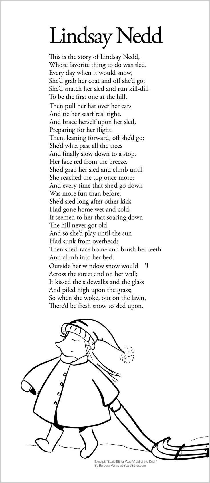 Cute winter children's poem about sledding and the snow. Great for the holidays and for classroom and school learning activities. common core first 1st grade, second 2nd grade, third 3rd grade reading #ESL