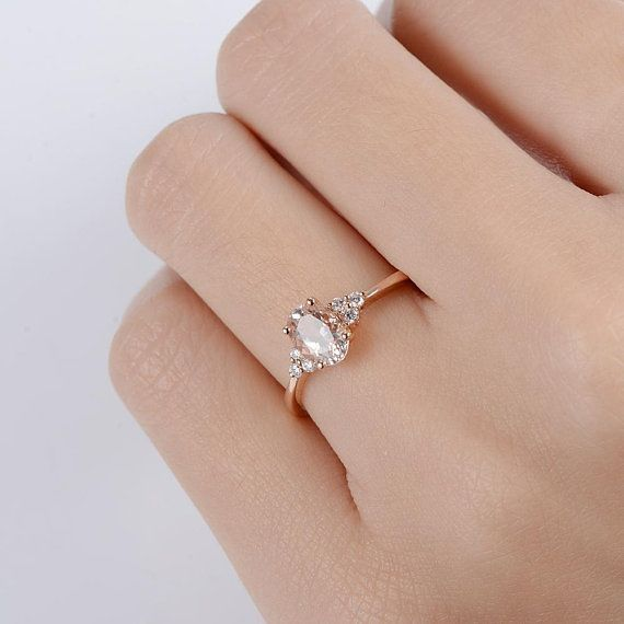 Morganite Engagement Ring Rose Gold Diamond Cluster Ring Oval – Genesis