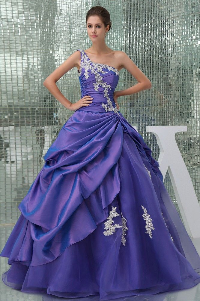 fc6b57d26f8ee Beautiful Lace One Shoulder Purple Taffeta Color Wedding Gown ...
