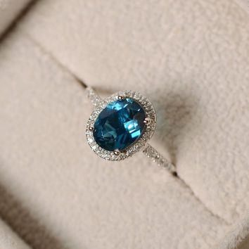 London blue topaz ring, oval gemstone, sterling silver halo ring, engagement ring