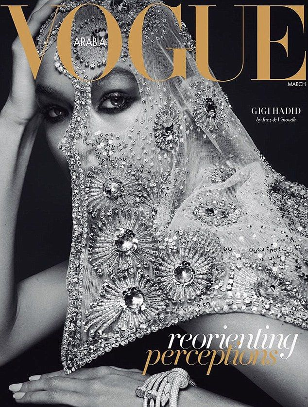 Twice as stunning:Gigi posed for two separate black and white images wearing a beaded vei...
