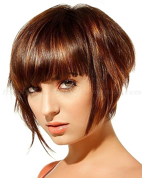 bob hairstyles, bob haircut, short hairstyles 2015 - graduated bob with bangs|trendy-hairstyles-for-women.com