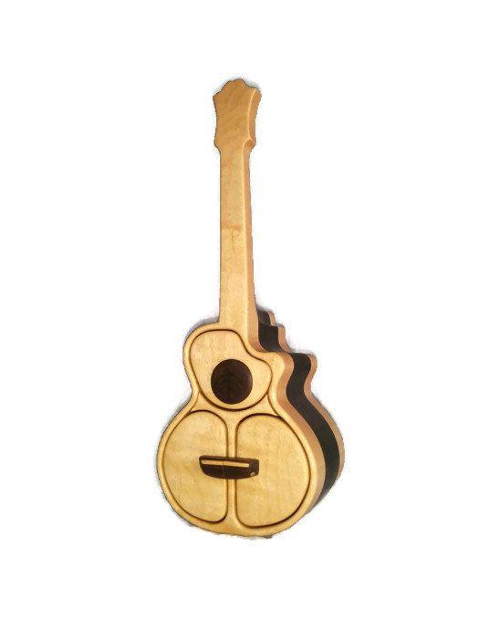 Casella di gioielli fatti a mano, chitarra acustica, trapuntato acero, casella di sega a nastro, 5th regalo di anniversario di nozze, organizzatore dello scrittorio, regalo di Natale