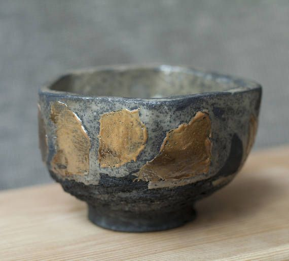 Ceramic chawan tea cup handmade raku unique orange grey