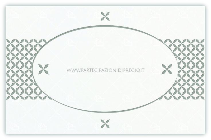 partecipazione di matrimonio - dimensione: 17 x 11 - forma: rettangolare - carta: Gmund Cotton - Max White - 300, 600, 900 gr. - linea: Ovale interno con fregi simmetrici - modello: Versione 1 - lavorazione press: cornici e fregi