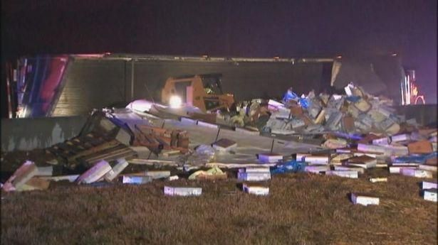 Frozen chicken (Jan. 14, 2014): 40,000 pounds of it. The truck carrying the poultry wrecked about 3 a.m. on the ramp from I-285 southbound to I-20 eastbound in DeKalb. (Channel 2 Action News )