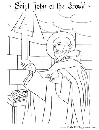 St John Of The Cross Catholic Saint Coloring Page Feast