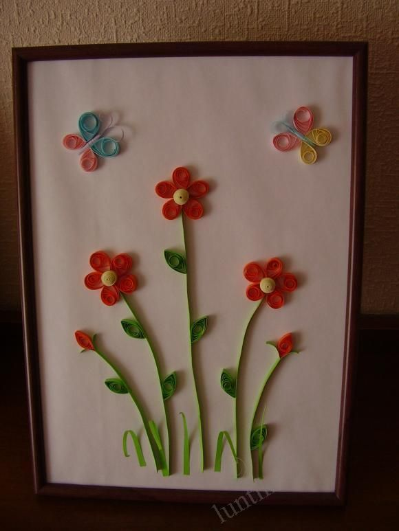 Creative child picture in the quilling technique for for Quilling patterns for beginners