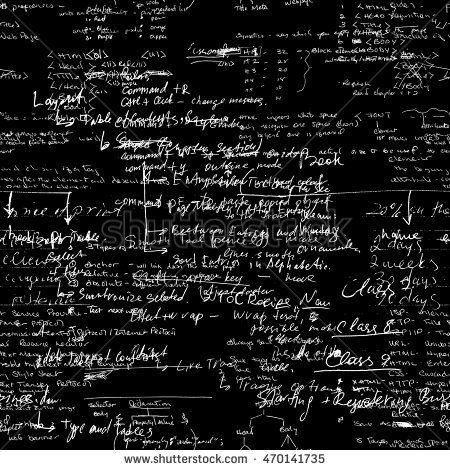 Seamless pattern with handwriting text. Calligraphy text, black background. Natural hand writing style. Lectures archives on different subjects, such as graphic design, typography and web programming.