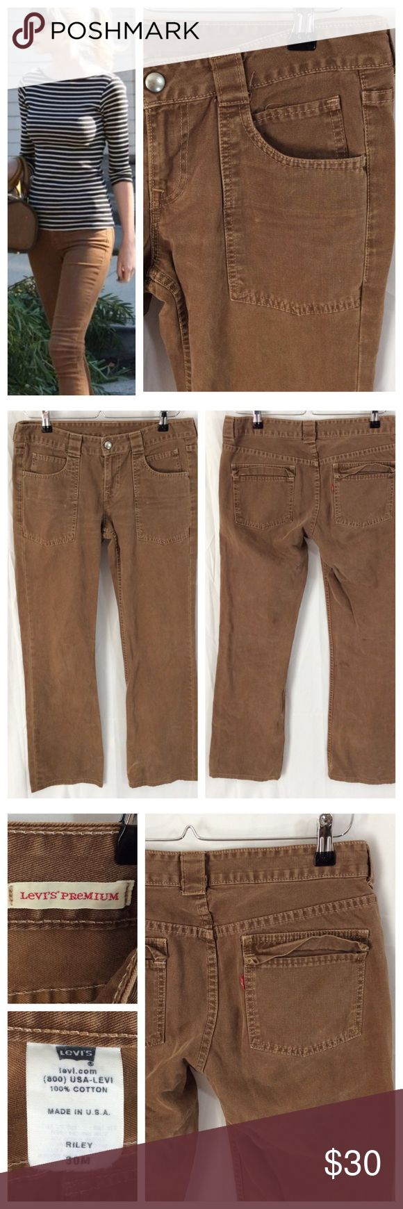 """Levi's Premium Camel Jeans I love these Levi's, all over factory broken in feel; front patch pockets, back tab pockets. Snap and zip closure with belt loops, can roll for trend-on look. Size 30M, 16"""" waist, 31"""" inseam. Great condition. Levi's Jeans"""