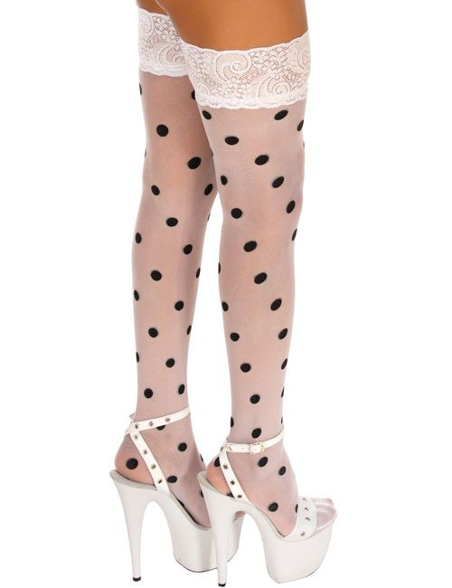 Sheer Thigh Highs Stocking with Point Design White