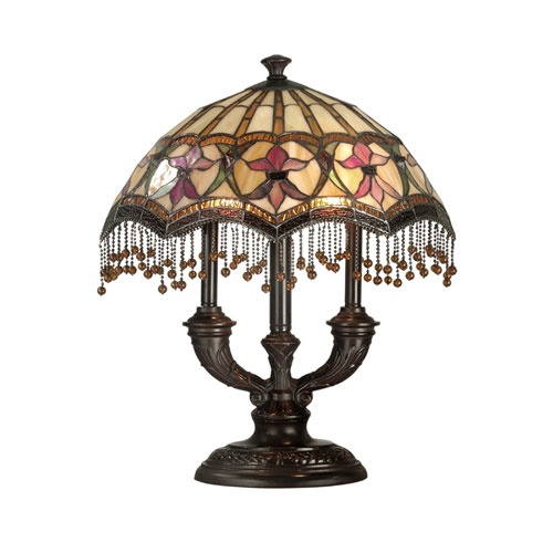 Antique brown tiffany de fleur table lamp