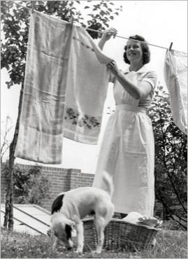 My mom preferred the clothesline over using a dryer T