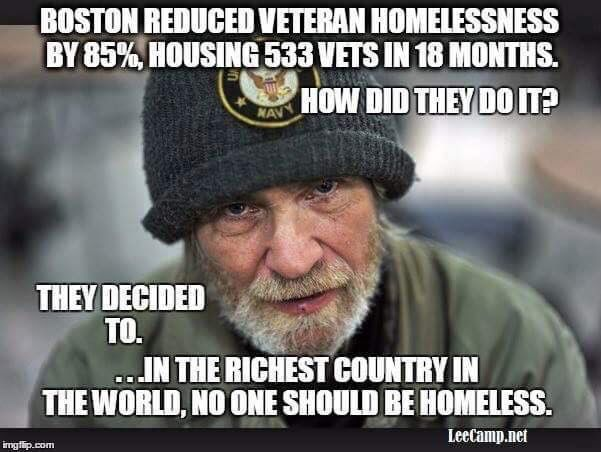 "Massachusetts has moved 533 homeless veterans out of shelters and into permanent homes in the past 18 months, since ""Boston Homes for the Brave"" was launched in June, 2014.  http://www.bostonnews.net/index.php/sid/240072721"
