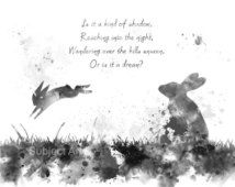 black and white watership down images | Watership Down inspired ART PRINT illustration, Bright Eyes, Quote ...