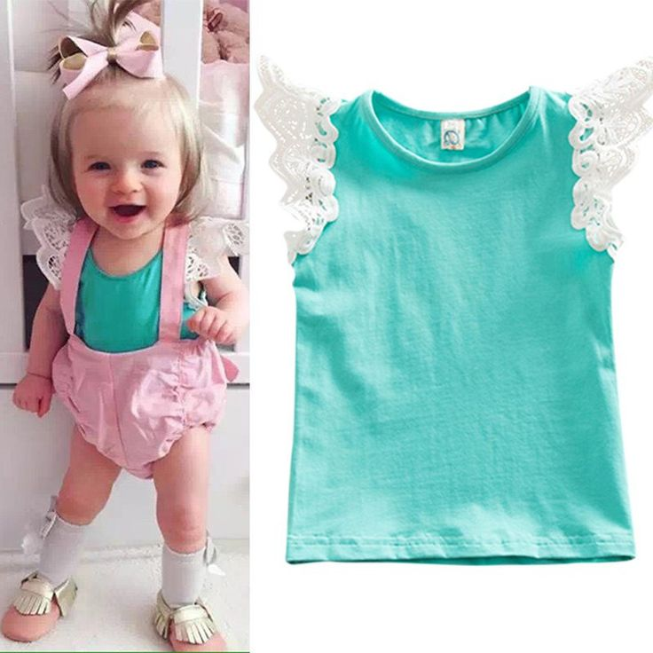 Nice New Design Lace Flying Sleeve Girl Vest T-shirt Toddler Cute Outfits Summer Baby Kids Clothes DH - $10.62 - Buy it Now!