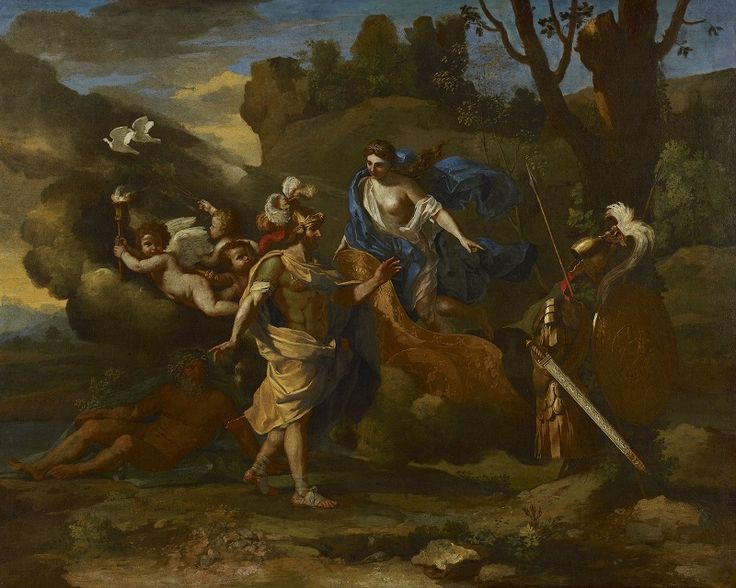 Nicolas Poussin, Venus, Mother of Aeneas, presenting him with Arms forged by Vulcan,  1636-1637