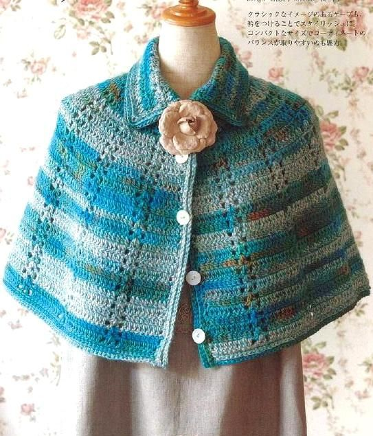 """Crochet Shawls: Crochet - Women's Cape For Winter. ♥LCP-MRS♥ with diagrams. Click on pink lettering where it says """"pattern"""" to view diagram."""