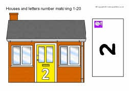 Houses and letters number matching 1-20 (SB4702) - SparkleBox
