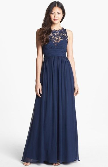 Aidan Mattox Embellished Lace & Silk Chiffon Gown (Online Only) | Nordstrom  Top lace make this pretty and functional!