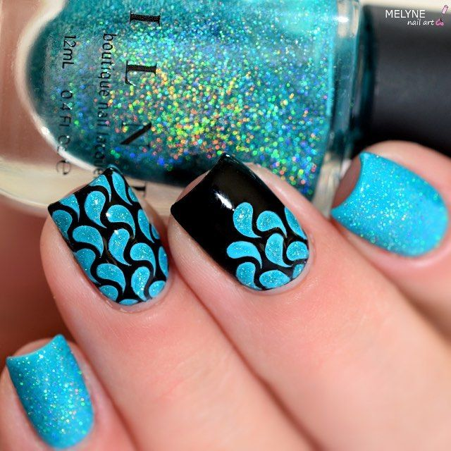 Turquoise and Black Mermaid Inspired Nails