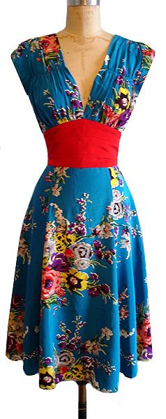 1940s Dress in Turquoise Floral.