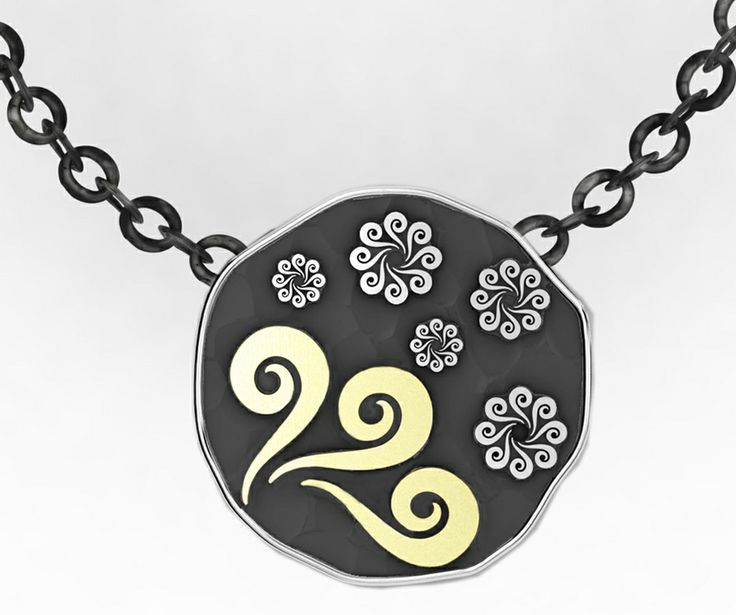 925 Sterling Silver Pendant Yellow 18k. Gold + chain #bohemme #jewelry #necklace #fashion