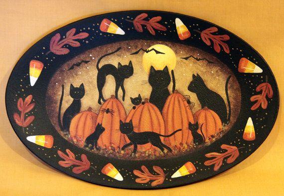 Halloween Folk Art Primitive Hand Painted by RavensBendFolkArt
