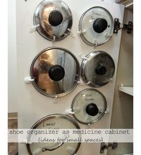 Easy Storage For Pot Lids - DIY Small Apartment Decorating on a Budget - Click for 18 Small Space Tips