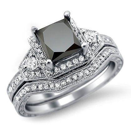 Amazon.com: 1.95ct Black Princess Cut Diamond Engagement Ring Matching Band Set 14k White Gold: Jewelry