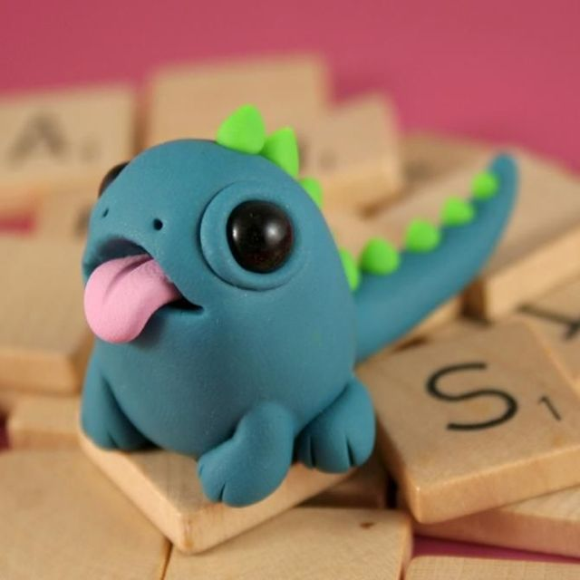 monster: Clay Ideas, Cute Monsters, Clay Monsters, Stuff, Art, Dragon, Polymer Clay Charms, Models Clay, Diy