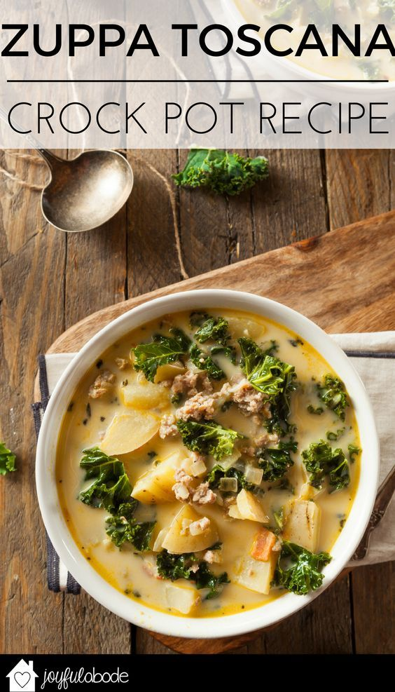 This Zuppa Toscana crock pot recipe will make you feel like you're in Olive Garden... or Italy. Easy to make in the crockpot, and great for freezer meals for later. Tuscan sausage kale potato soup recipe | soup recipes | homemade zuppa toscana soup | cold weather meal ideas | recipes using kale | zuppa toscana soup recipe || Joyful Abode