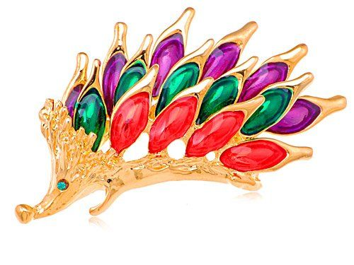 Rare Siam Amethyst Emerald Crystal Rhinestone Hedgehog Animal Forest Pin Brooch: