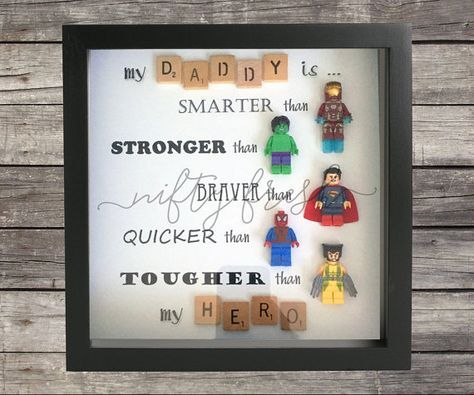 Surrounded by superheroes Lego compatible minifigure wall display