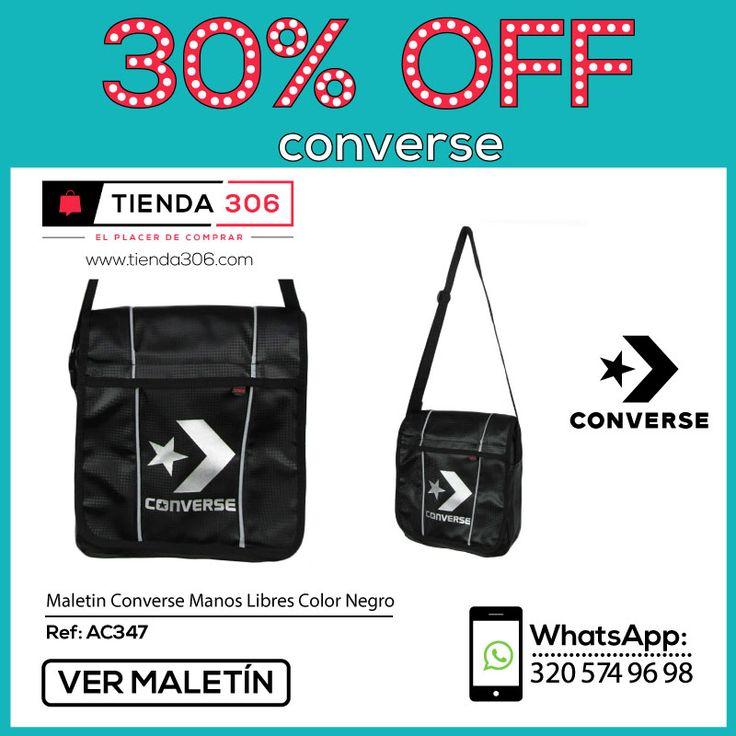 Diseño Moderno con Grabado Sutil del Logo - Maletín Converse Manos Libres Negro Ref.: AC347 📞 320 574 96 98 Ver Ahora:  http://bit.ly/2iotQOV