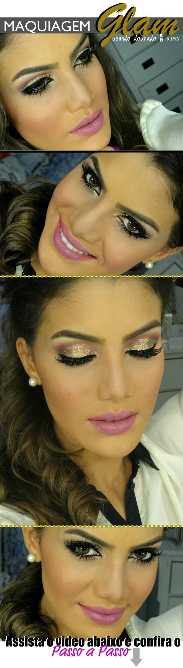 make glam romântico Glitter+delineado