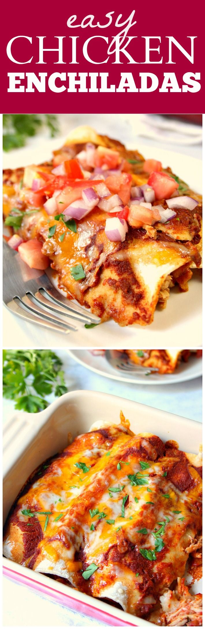 Learn how to make the easiest and BEST chicken enchiladas! Thanks to my enchilada sauce made with just a few ingredients in the blender and my Mexican chicken cooked in slow cooker, this recipe is super easy! Also, learn my trick to preventing the corn tortillas from breaking.