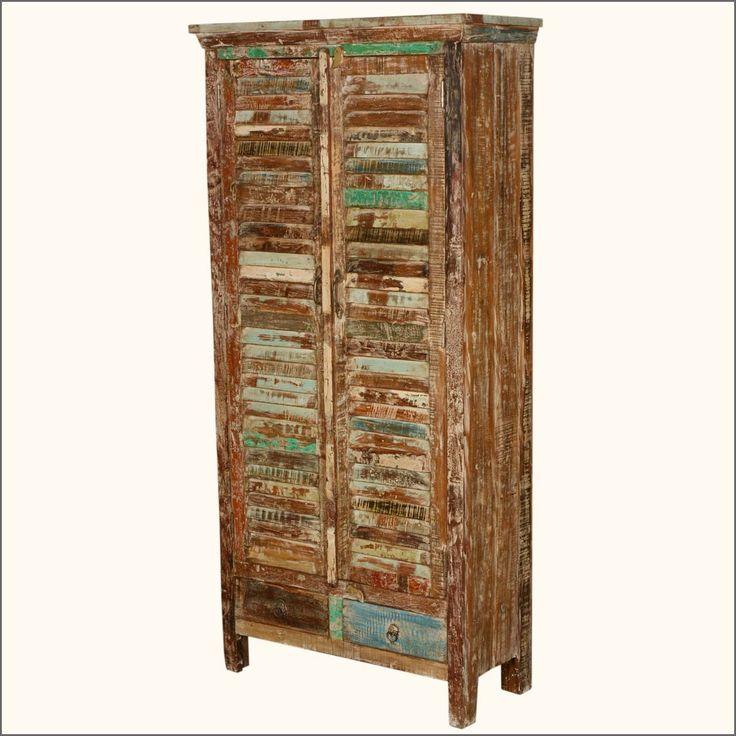 Rustic Shutter Door Reclaimed Wood Armoire Wardrobe Cabinet