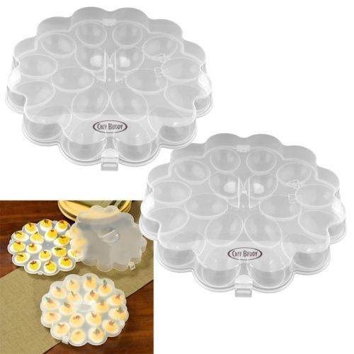Good for serving deviled egg dishes and good for carrying to outdoor dinner or transport from farm market. #Egg #Tray #Carrier #Platters #Travel #Container #Outdoor