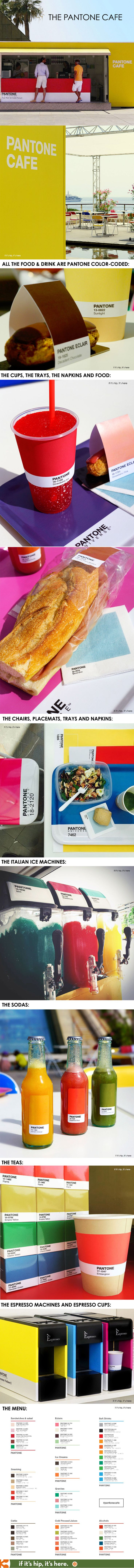The Pop-Up Pantone Cafe has color-coded food and drink, colorful packaging, decor, design and branding.