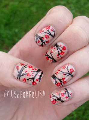 Pause For Polish: 33 Day Challenge: Chinese (argh! -- cherry blossoms = Japanese)