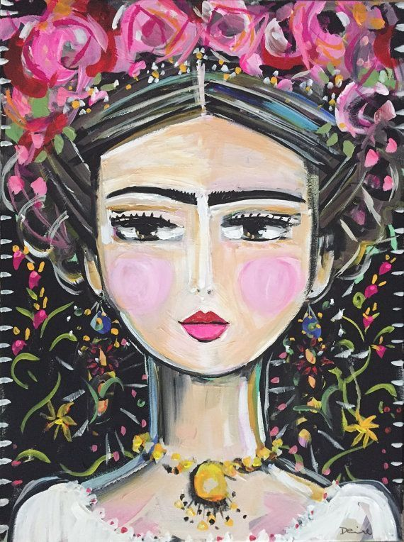 Frida Kahlo Painting, roses, pretty, portrait painting on canvas, folk art style Frida E Diego, Frida Art, Painting Inspiration, Art Inspo, Frida Paintings, Original Art, Original Paintings, Mexican Folk Art, Art Drawings