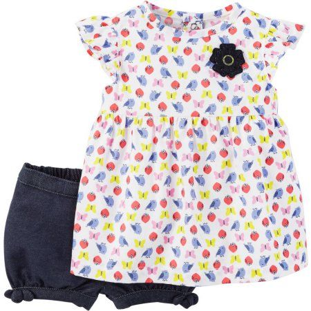 Child of Mine by Carter's Newborn Baby Girl Shirt and Shorts 2 Piece Set, Size: 0 - 3 Months, Multicolor